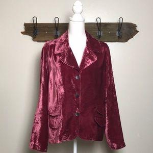 J Jill Blazer Crushed Velvet Rose Color EUC